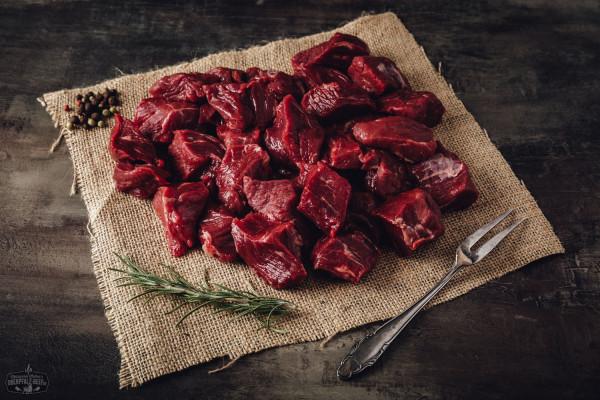 Rindergulasch geschnitten